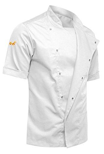 strongAnt - Chaqueta Cocinero de Manga Corta. Uniforme de Chef Hombre. Ropa de Cocina - Hecho en EU - Blanco XL