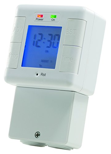 Masterplug Digital Immersion Heater and Lighting Timer, with Power Indicator, 240 Volts, 121.5 x 73.5 x 40 mm