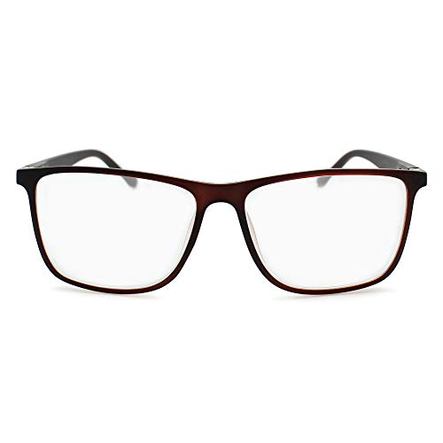 2SeeLife Large Frame Reading Glasses for Men   Brown Matte, 1.50