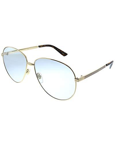 Gucci GG0138S 004 Occhiali da sole, Oro (4/Light-Bluee), 61 Unisex-Adulto