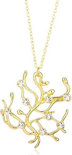 LKLFC Collar con Colgante, Collar de Cadena, Collar de Mujer para Hombre, Collar de La Bella y la Bestia, Collar con Colgante de Cristal de Oro Rosa Retro, Regalo