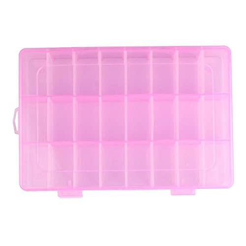 Caja de almacenamiento de plástico ajustable de 24 compartimentos Estuche para pendientes de joyería Ranuras de plástico transparente Joyas hermosas Arte de uñas Diamante de imitación-Rosa, ESPAÑA