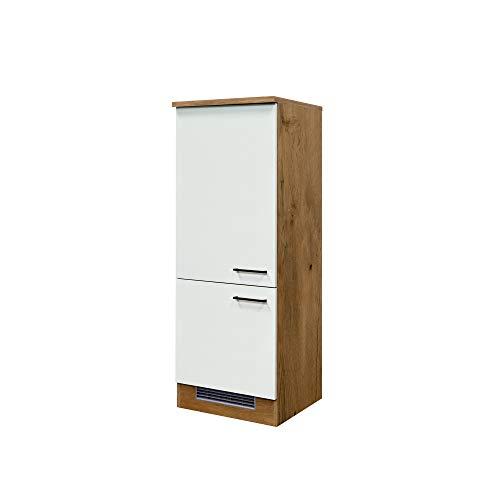 MMR Midi-Kühlschrankumbauschrank GLASGOW - Umbauschrank für Kühlschrank - 2-türig - 60 cm breit - Creme Matt