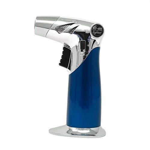Starlet24 Flambierbrenner Butangasbrenner Bunsenbrenner Doppelflamme Küchenbrenner zum Flambieren Karamelisieren Grillen Gasbrenner für Desserts Küche BBQ (ohne Butangas) Blau