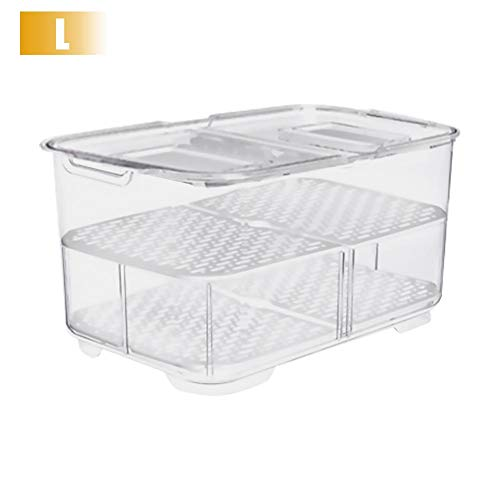Luminiu - Caja multifunción, Nevera, Cocina Creativa, Rectangular, para frigorífico, Huecos de Frutas y Verduras, Caja de Almacenamiento de Doble Sellado, Large