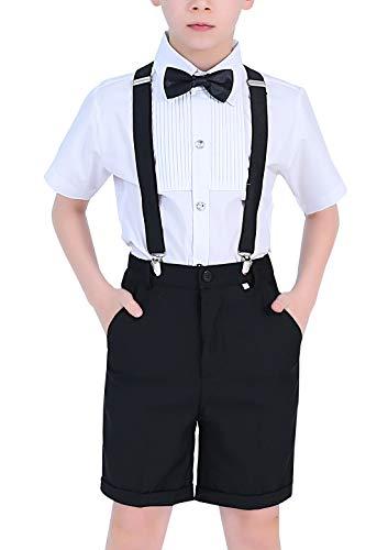 Happy Cherry - Traje Fiesta Bautismo para Niño Ropa de Ceremonia Boda de Verano Pantalones Cortos Camiseta con Corbata para Banquete Graduación para Niños de 12-13 Años - Negro