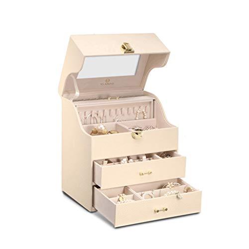 CWT Caja de joyería 25.5 * 18.2 * 29.4 cm Aretes de joyería Almacenamiento de Gran Capacidad Collar Caja de Reloj Regalo de Boda (Color : Creamy-White)