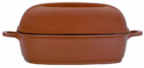 Berghoff 2305072 Plat à Four carré antiadhésif en Terre Cuite avec Couvercle, 28 x 28 CM, Aluminium coulé, Beige, 11 x 31 x 37 cm