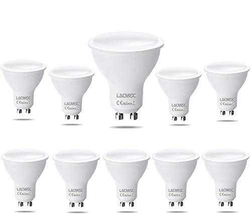 Lacmisc Bombilla LED, 6W GU10 Luz LED, Blanco frío 6000K, 6W Equivalente a una lámpara halógena de 60W, AC 220V-240V, 450LM, no regulable Boxlood, ángulo de flujo luminoso de 120 °