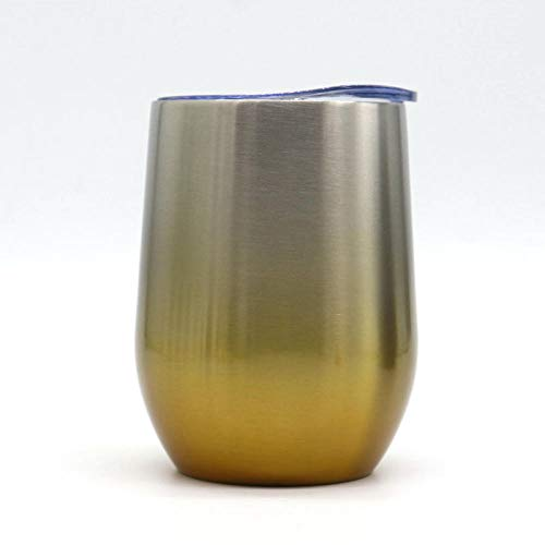 Wdtt Tasse à café réutilisable en acier inoxydable 340 ml Dégradé d'or.