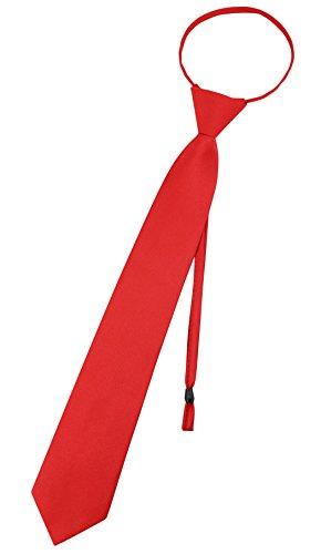 Vesuvio Napoli PreTied Men's Necktie Solid Color Mens Adjustable Zipper Neck Tie, Red, 3 IN