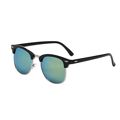 Shiratori New Wayfarer Vintage Classic medio marco parcialmente sin montura lente transparente gafas.
