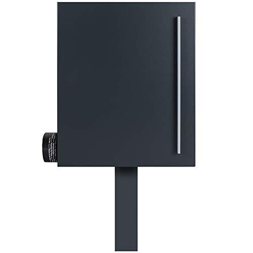 XXL Stand-Briefkasten anthrazit freistehend (RAL 7016) MOCAVI Sbox 210b Stand-Postkasten mit Zeitungsfach groß mit Pfosten (einbetonieren), hochwertig, rostfrei, modern
