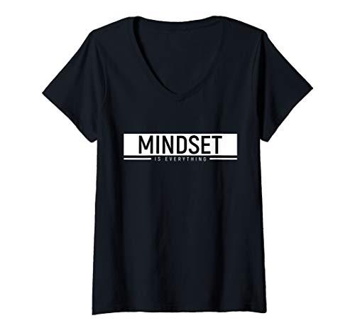 Womens Growth Mindset Positive Uplifting Quote Motivational Workout V-Neck T-Shirt