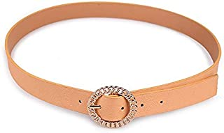 SGJFZD Women's Fashionable Chain Round Buckle Pin Buckle Hundred Matching Belts Fashion Women's Belt (Color : Champagne, Size : 80-100cm)