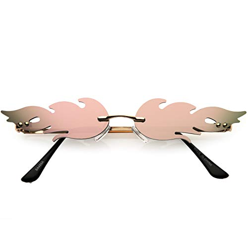 Bold Fire Flaming Shape Mirrored Lens Rimless Flames Sunglasses (Gold/Pink Mirror)