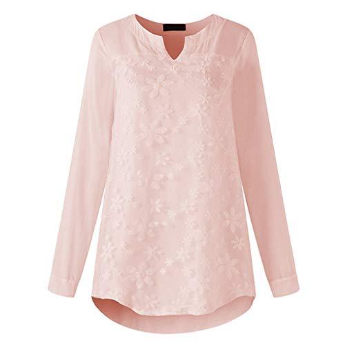 Floridivy Dames Meisjes V-hals Solid Color Lace Trui met lange mouwen t-shirt, Autumn Blouse trui met lange mouwen T-shirt