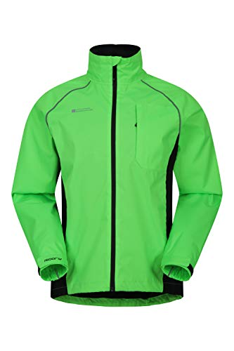 Mountain Warehouse Adrenaline Mens Waterproof Cycling Jacket - High Vis Reflective Mens Coat, Breathable Unisex Rain Coat - for Outdoors, Running & Walking Lime XL