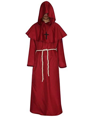 Liangzhu Mönch Mittelalterlich Mit Kapuze Mönch Renaissance Priester Robe Kostüm Halloween Cosplay Costume Rot M