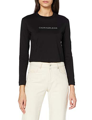 Calvin Klein Shrunken Inst Modern LS tee Camisa, CK Black, XL para Mujer
