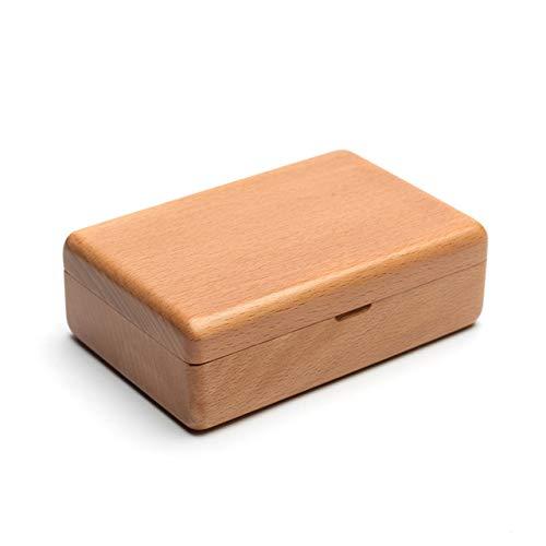 Shiwaki 4.7'x3.1 x1.6 Caja de Almacenamiento de joyería Peque?a de Madera Maciza de Haya Negra Estuche para Anillos Pendientes de botón Collar Gemelos