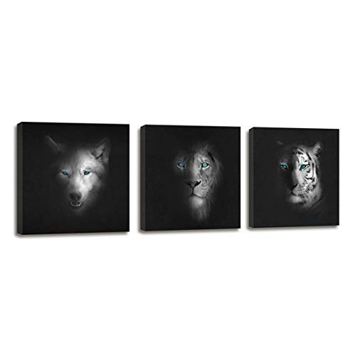 Black and White Wall Art Animal Poster Wolf Head and Tiger Face Lion Painting for Bedroom Decoration - 3 Panels Canvas Artwork Framed Wall Art Wildlife Giclee Canvas Prints for Home Bathroom Decor