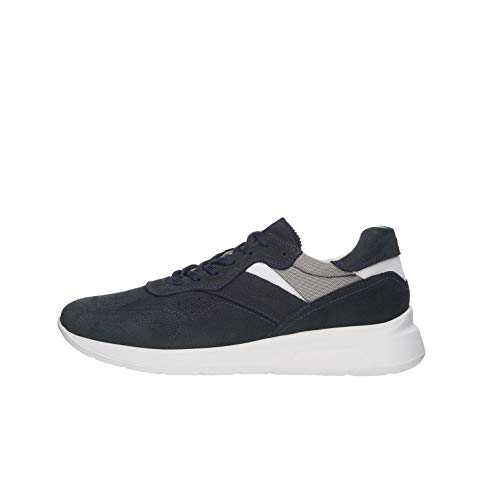 Nero Giardini E001494U Sneakers Uomo in Pelle E Tela - Blu Notte 42 EU