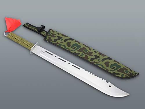 KOSxBO® Set XXL Machete 680mm mit Wurfmesser im klassischen Survival Blade Style - Prepper - Zombie Dead - Hunter Camouflage Grün