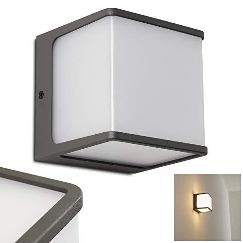 LED Außenwandleuchte Buckau, moderne Wandlampe aus Aluminium in Anthrazit, Wandleuchte 15 Watt, 800 Lumen, Lichtfarbe 3000 Kelvin, eckige Wandleuchte für Terrasse/Hof/Haustür, IP54