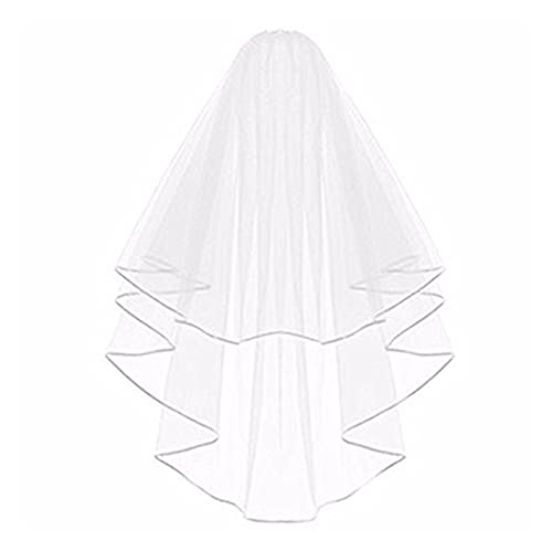 YUNGYE Velo Nupcial con Cinta de Peine en Cascada en Cascada para la Fiesta de Ducha Nupcial Blanco Velos de Novia (Color : White, Item Length : 75 cm)