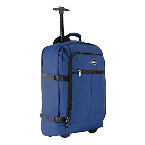 Cabin Max Lyon Flight Approved Bag Wheeled Hand Luggage - Carry on Trolley Backpack 44L 55x40x20cm (Atlantic Blue)