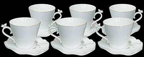 Dematex 51 - Juego de Tazas de café con diseño de Mariposas, Porcelana, ca. 160 ml