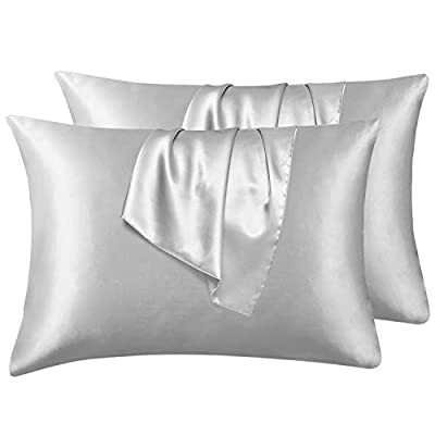 Hansleep Satin Pillowcase Set of 4 Silky Soft Pillowcase for Hair and Skin, Wrinkle, Fade Resistant with Envelope Closure (Light Grey, Queen 20x30'') from Hansleep