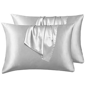 Hansleep Funda Almohada de Satén Sedoso, 50x75 cm 4 Piezas para Pelo Rizado - Microfibra Suave Liso sin Cremallera & Hipoalergénico Antiarrugas, Gris Claro
