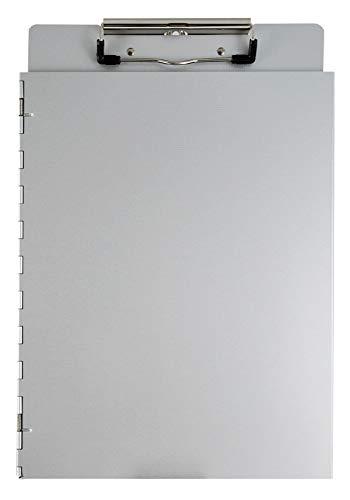 Läufer 22017 Dokumenten Klemmbrett mit seitlicher Schutzkappe, aus Aluminium, für DIN A4, Deckel als Sichtschutz, stabile Schreibplatte, seitlich öffnend