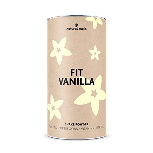 Natural Mojo Fit Vanilla – Fit Shake (500 g) – Shake mit wertvollen Superfoods – leckerer Drink aus leicht löslichem Eiweißpulver – mit Vanille-Geschmack