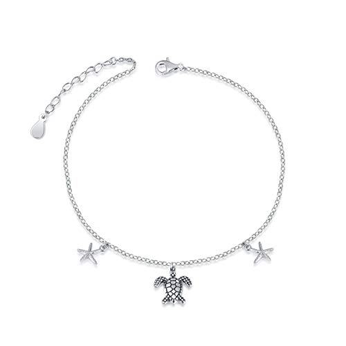S925 Sterling Silver Sea Turtle Starfish Anklets Foot Chain Jewelry for Women Ankle Bracelets for Girl Teens (turtle starfish 9+1inch)