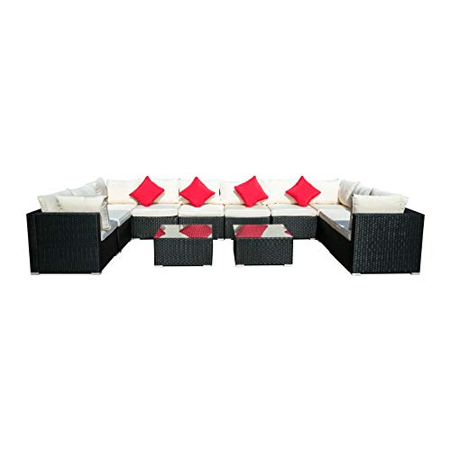 Outdoor Patio Furniture 12-Pieces PE Rattan Wicker Sectional Beige Cushioned Sofa Sets with 4 Pillows