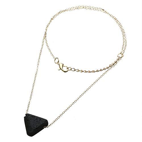 Ruluti Difusor de Aceite Esencial Collar de aromaterapia Triángulo Lava Bead Piedly Jewelry
