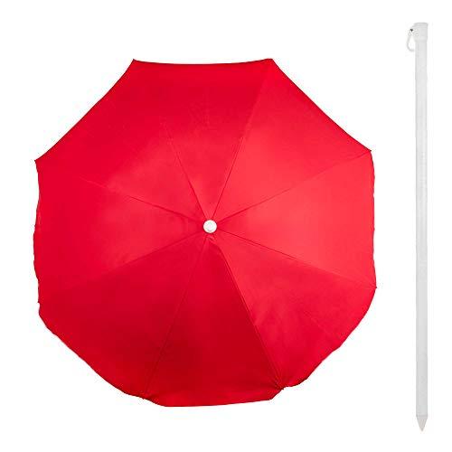 Aktive 53845 Sombrilla 220 cm Beach con protección UV, Rojo