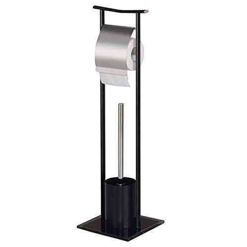 IDIMEX WC Garnitur ONA Toilettenpapierhalter und Bürste freistehend, Klorollenhalter mit Toilettenbürste aus Metall in schwarz