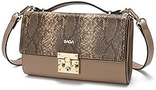 حقيبة نسائية من SAGA بغطاء جلد الثعبان ، متعددة الاستخدامات