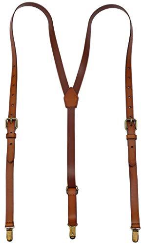 Tirantes de cuero para los hombres y diseño de espalda ajustable marrón...