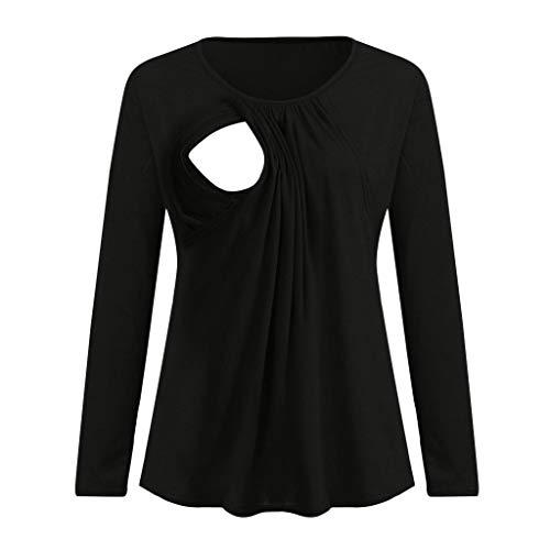 STRIR Camiseta de Lactancia Maternidad Lisos Camisa Mujer Blusa Breastfeeding Embarazadas Premamá Primavera otoño Tops (M, Negro-C)