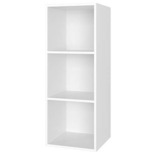 Homfa Estantería para Libros Estantería de Pared Librería con 3 Niveles para Salón Estudio Blanca 30x30x80cm
