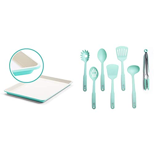 """GreenLife Bakeware Healthy Ceramic Nonstick, Cookie Sheet, 18"""" x 13"""", Turquoise & Nylon Cooking Set, 7-Piece, Turquoise, 7pc Utensil, Turqouise"""