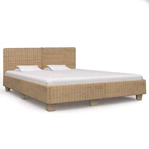 vidaXL Bedframe Handgeweven Ledikant Bed Frame Bedden Bedombouw Bedframes Frames Ligbed Slaapbed Slaapmeubel Echt Rattan 180x200 cm