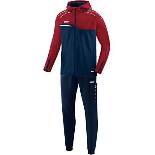 JAKO Herren Competition 2.0 mit Kapuze Trainingsanzug Polyester, Marine/dunkelrot, XL