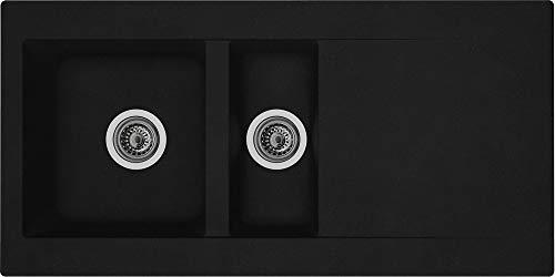respekta DENVER100X50S Spüle, Schwarz, 100 x 50 cm