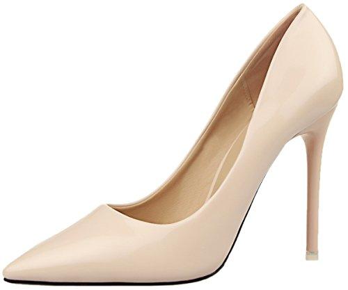 BIGTREE Hochzeit High Heels Damen Stiletto Spitze Zehen Pumps Beige Kleid Schuhe 33 EU
